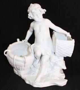 Antique Parian Child Holding A Basket
