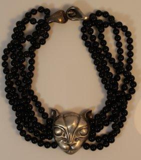 Patricia Van Musulin Sterling Onyx Large Panther