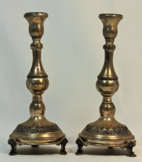 Pair Of Antique Footed Sterling Candle Sticks