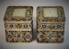 PAIR CHINESE SILVER ENAMELED BOX WITH JADE PLAQUE