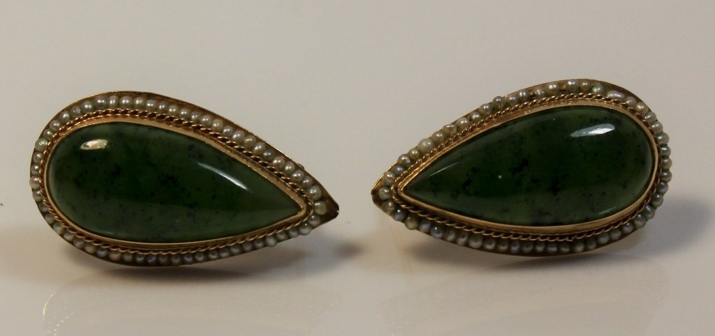 VINTAGE JADE & 14KT GOLD SEED PEARL EARRINGS