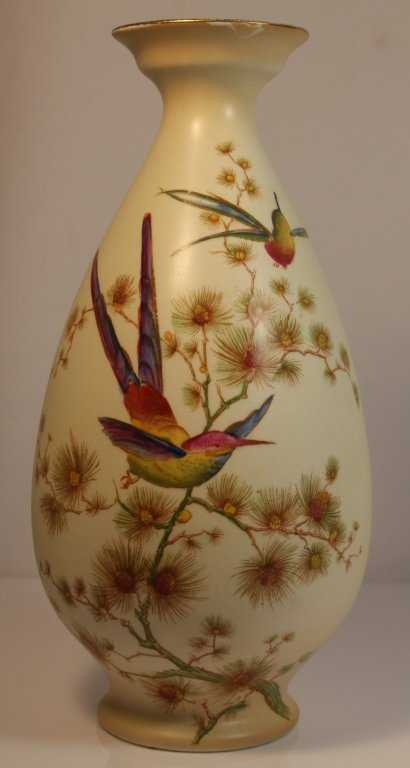 Crown Ducal Bird Of Paradise Porcelain Vase