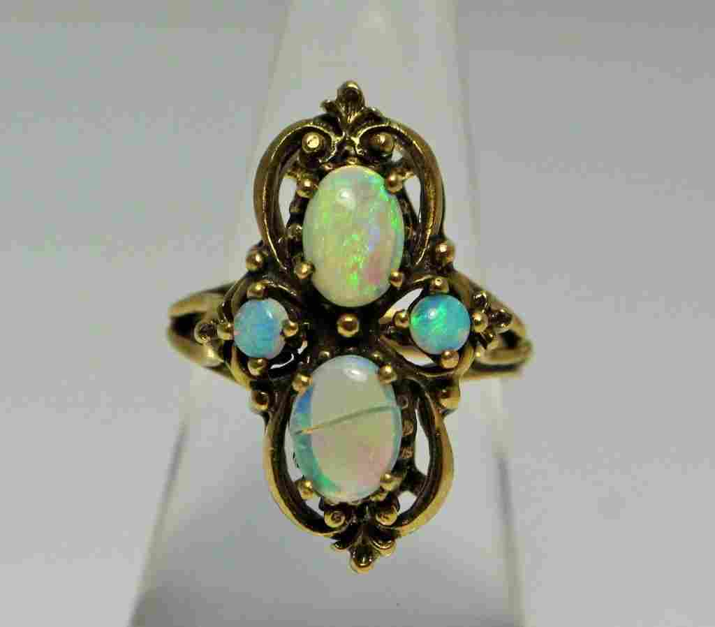 VICTORIAN 14KT YG AND AFRICAN OPAL LADIES RING