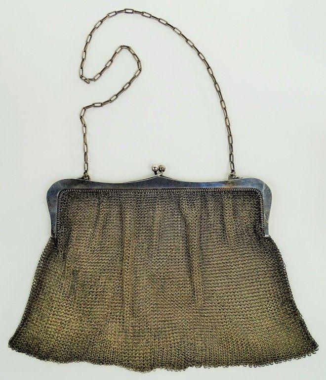 VINTAGE STERLING SILVER LADIES MESH PURSE