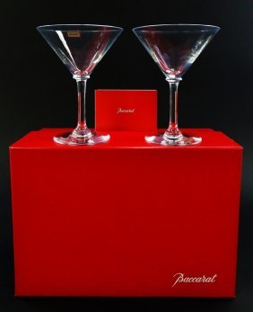 Pair Of Baccarat Crystal Martini Glasses With Box