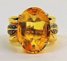 14kt Gold Yellow Sapphire & Diamond Ladies Ring