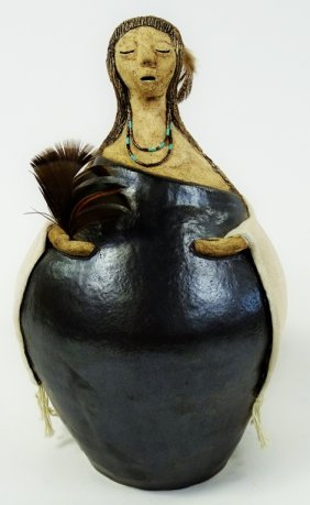 Signed Frances Makil Indian Woman Pottery