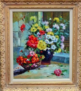 Large Still Life Oil On Canvas Painting Of Flowers