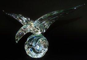 Crystal Glass Sculpture Of A Bird On A Rock