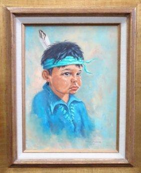 Oil On Canvas Molly Pfeiffer Of A Sad Boy