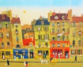 Michel Delacroix Lithograph Paris Street Scene