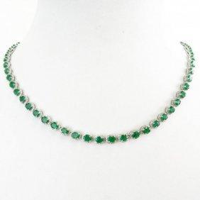 Aig Cert 20.63ct Emerald 3.95ct Dia 14kt Necklace