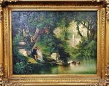 LARGE CONTINENTAL OIL ON CANVAS LOVERS BY THE LAKE