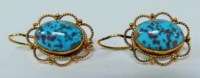Pair Of Victorian Turquoise Earrings 14kt Gold