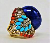 ESTATE 14KT GOLD LAPIS TURQUOISE AND DIAMOND RING