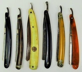 Collection Of 6 Antique Straight Razors
