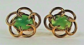 Chinese 14kt Yellow Gold Vintage Jadeite Cufflinks