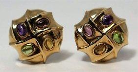 14kt Yellow Gold & Gemstone Ladies Earrings