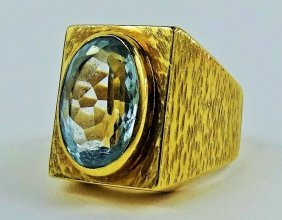 Men's Vintage Aqua Marine & 14 Kt Yellow Gold Ring
