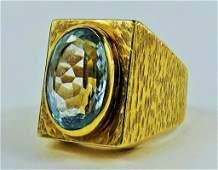 MENS VINTAGE AQUA MARINE  14 KT YELLOW GOLD RING