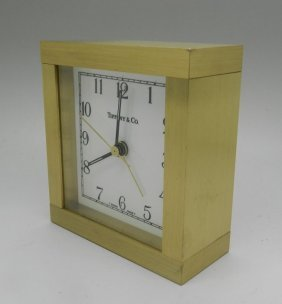 Tiffany & Co Quartz Brass Desk Mantel Budoir Clock