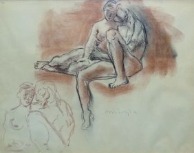 Moses Soyer Pencil Ethcing Of Two Nude Figures