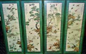 Set Of Four Oriental Wall Plaques Depicting Birds