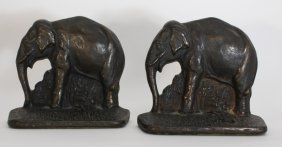 Pair Of Small Vintage Bookends Of Elephants