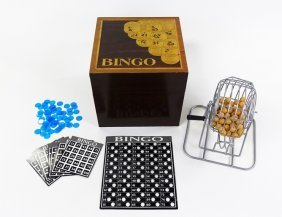 Deluxe Bingo Game In A Wooden Hinged Box