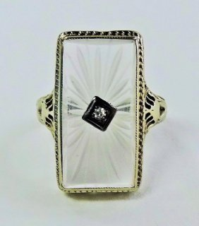 Deco Diamond & Rock Crystal Ring Manner Of Lalique