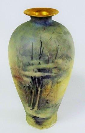 Tall Belleek Porcelain Hand Painted Vase