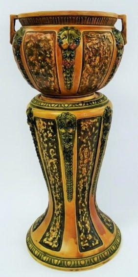 Roseville Brown Florentine Jardiniere & Pedestal