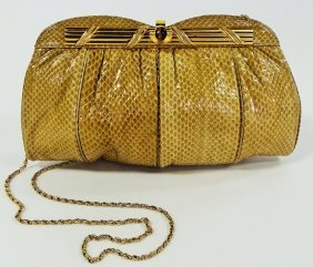 1980's Colombetti Snake Skin Clutch Shoulder Bag
