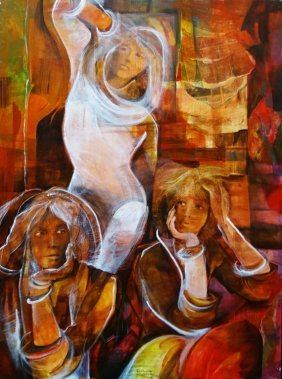 Large Oil On Canvas Collage Of 3 Beautiful Woman