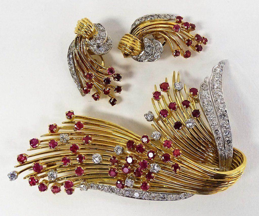 KUTCHINSKY RETRO 18KT GOLD & DIAMOND RUBY SUITE
