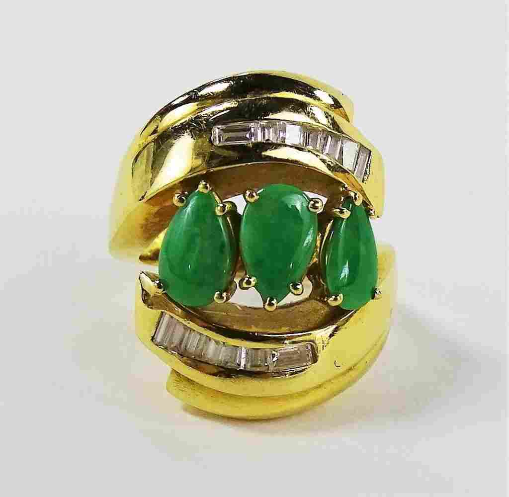 LADIES VINTAGE 18KT YG GREEN JADE & DIAMOND RING