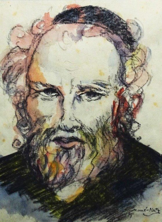 EMMANUEL MANE-KATZ GOUACHE ON PAPER OF RABBI