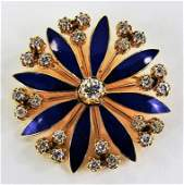 ANTIQUE 14KT YELLOW GOLD ENAMELED DIAMOND BROOCH