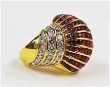 LADIES 18KT YG RUBY  DIAMOND COCKTAIL RING