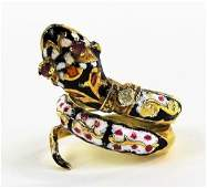LADIES 14KT YELLOW GOLD ENAMELED SNAKE RING