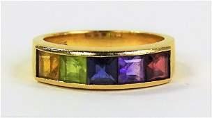 LADIES 14KT YELLOW GOLD MULTI-GEMSTONE RING