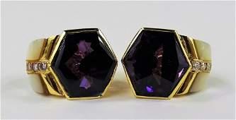 Pair of Designer 18k Gold Amethyst Diamond Earring