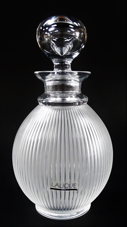 LALIQUE MOLDED CRYSTAL 'LANGEAIS' DECANTER
