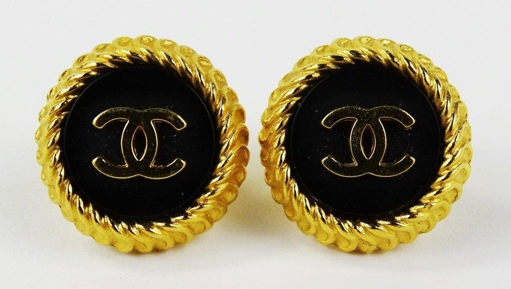 PAIR VINTAGE CHANEL GOLD LOGO EARRINGS