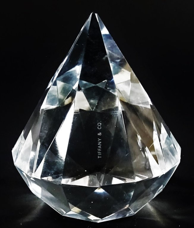 TIFFANY & CO. CUT CRYSTAL DIAMOND PAPERWEIGHT