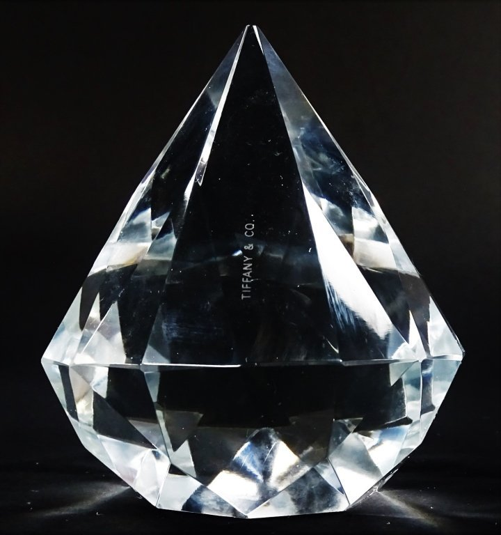 TIFFANY & CO. CUT CRYSTAL DIAMOND PAPERWEIGHT - 2