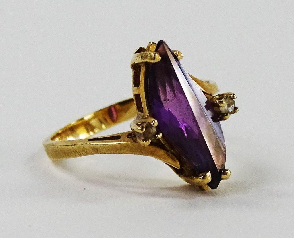 VICTORIAN 10KT GOLD AMETHYST & DIAMOND LADIES RING - 2