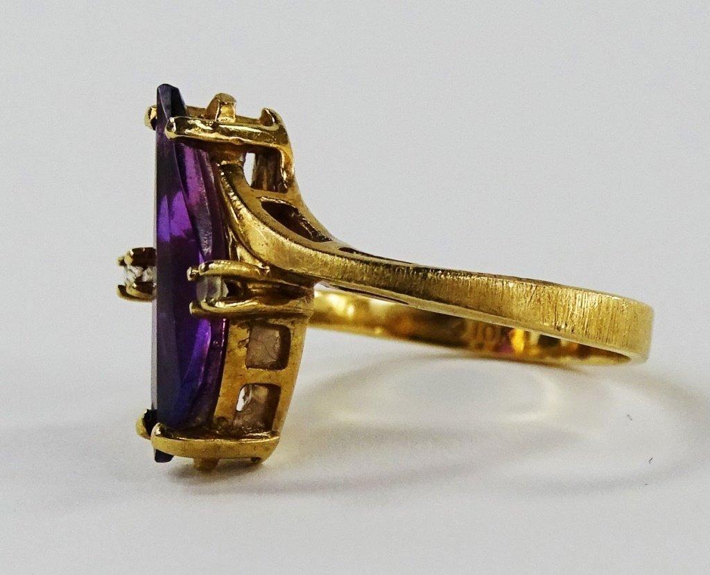 VICTORIAN 10KT GOLD AMETHYST & DIAMOND LADIES RING - 3
