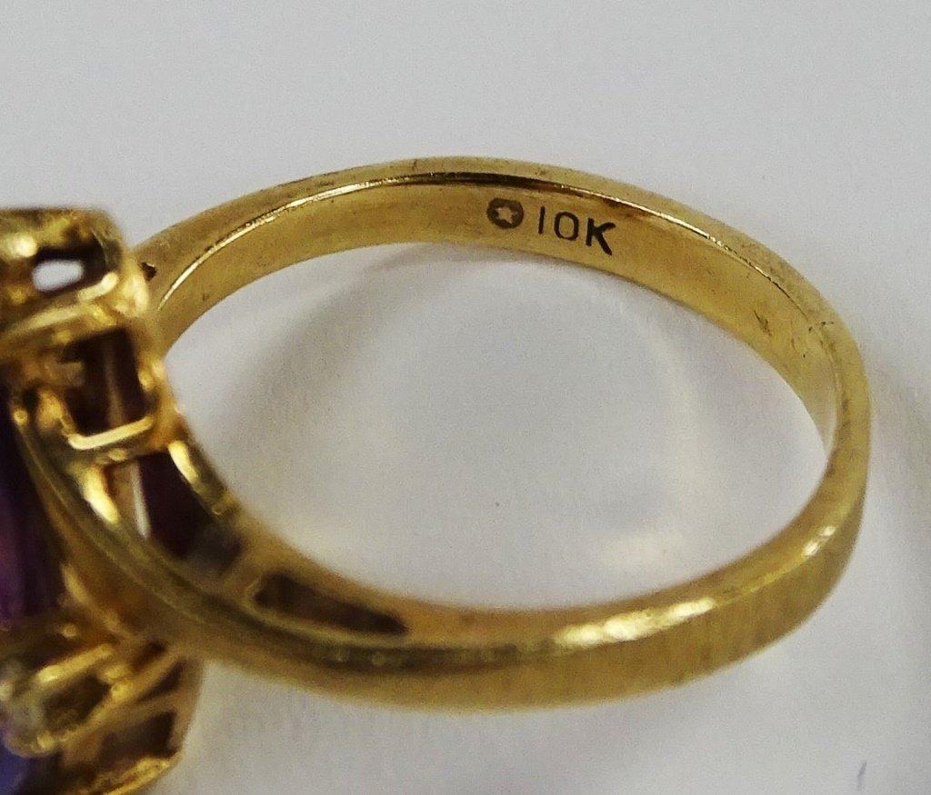 VICTORIAN 10KT GOLD AMETHYST & DIAMOND LADIES RING - 4