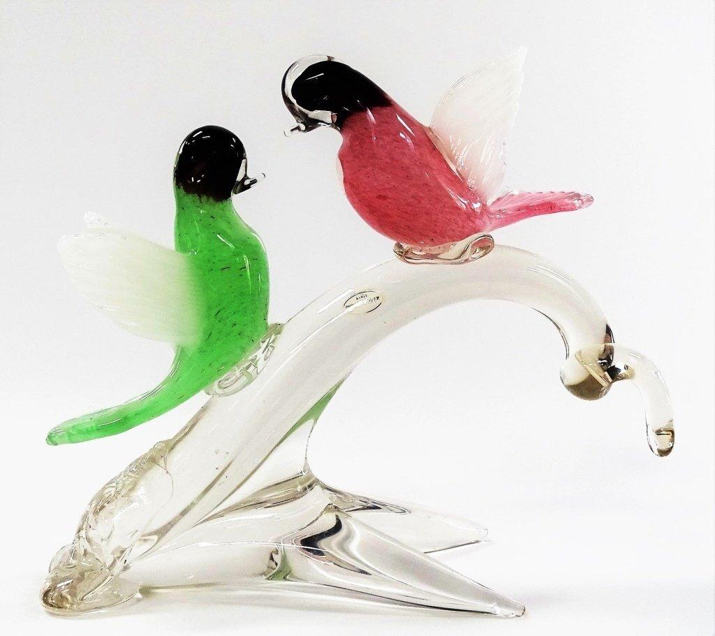 MURANO ITALY BLOWN ART GLASS BIRD GROUP